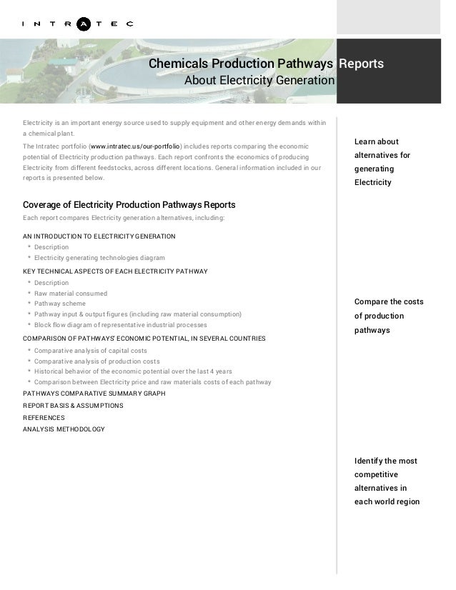 Chemicals Production Pathways About Electricity Generation Reports Electricity is an important energy source used to suppl...