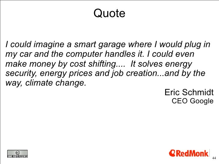 Quote  I could imagine a smart garage where I would plug in my car and the computer handles it. I could even make money by...