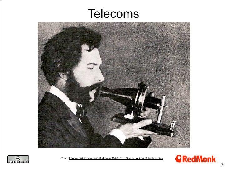 Telecoms     Photo http://en.wikipedia.org/wiki/Image:1876_Bell_Speaking_into_Telephone.jpg                               ...