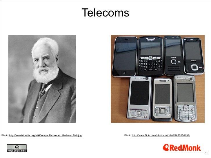 Telecoms     Photo http://en.wikipedia.org/wiki/Image:Alexander_Graham_Bell.jpg      Photo http://www.flickr.com/photos/al...