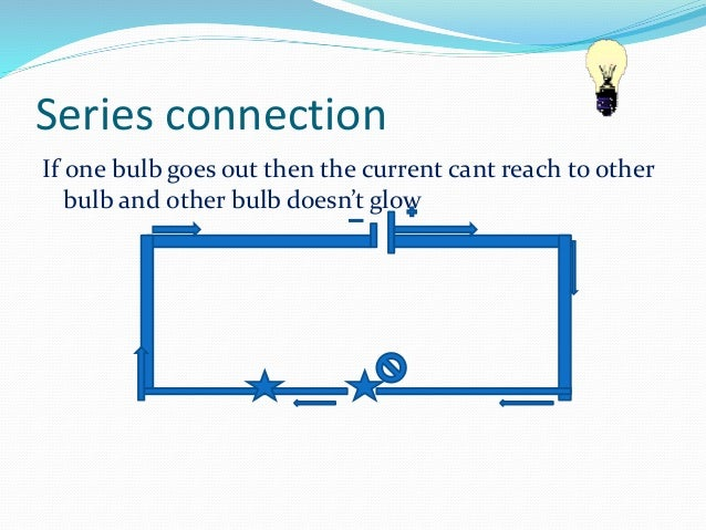 Series connection  If one bulb goes out then the current cant reach to other  bulb and other bulb doesn't glow
