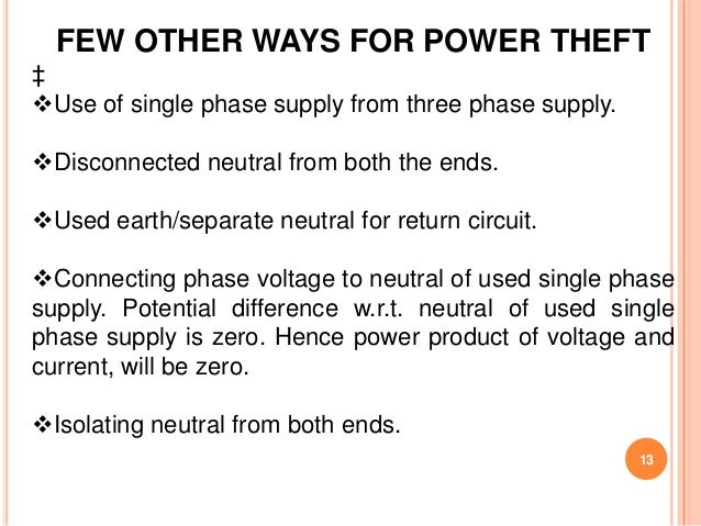 FEW OTHER WAYS FOR POWER THEFT‡Use of single phase supply from three phase supply.Disconnected neutral from both the end...