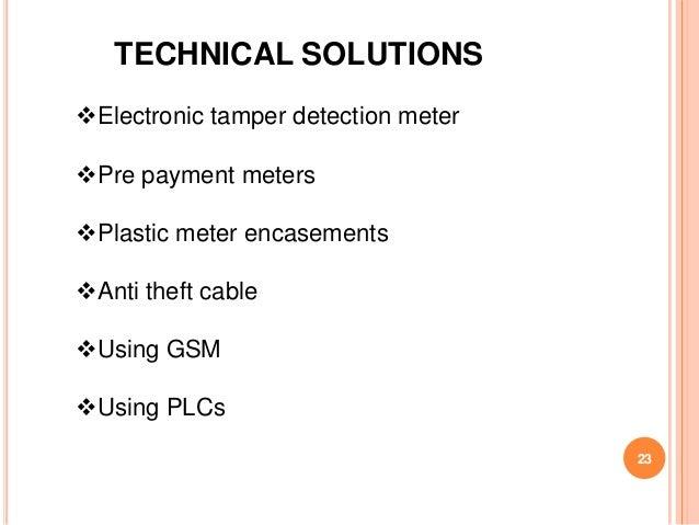 TECHNICAL SOLUTIONSElectronic tamper detection meterPre payment metersPlastic meter encasementsAnti theft cableUsing ...