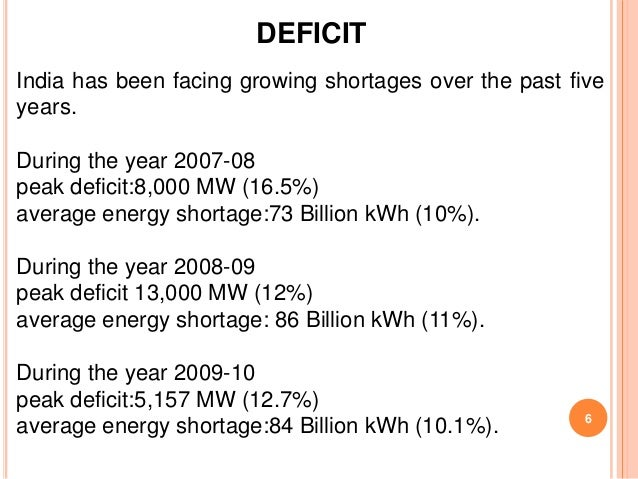 DEFICITIndia has been facing growing shortages over the past fiveyears.During the year 2007-08peak deficit:8,000 MW (16.5%...