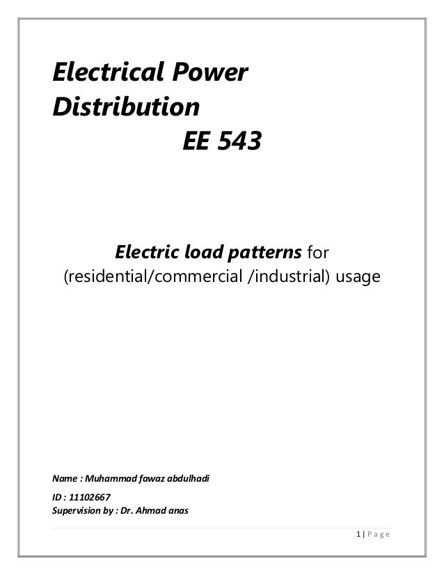 Electric load patterns for residentialcommercial industrial usage – Commercial Electrical Load Calculation Worksheet