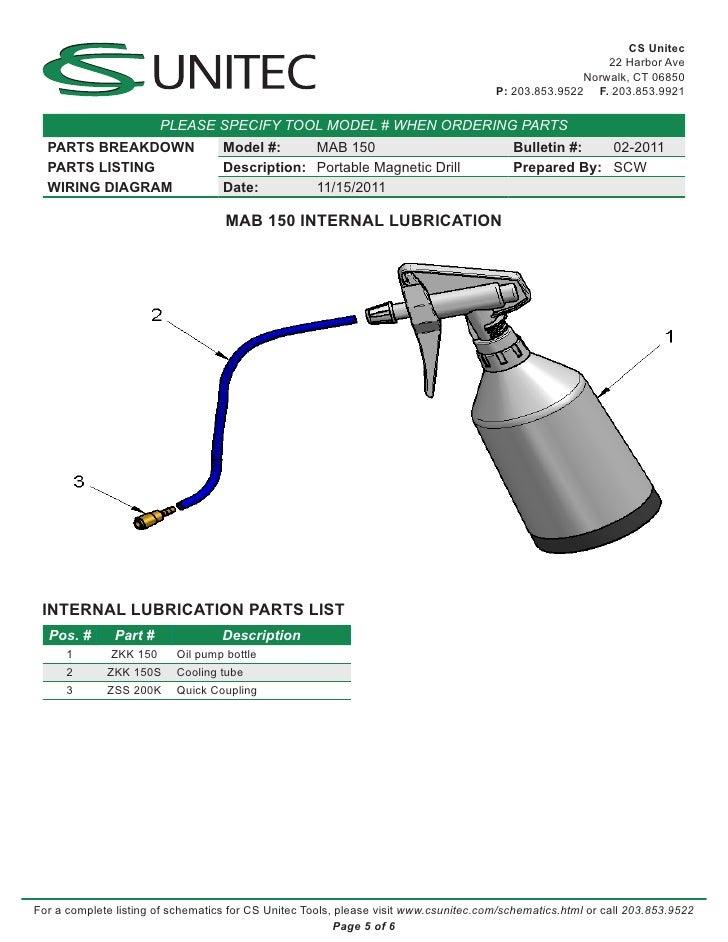 Cs Unitec Electric Magnetic Drills Schematic  Mab 150
