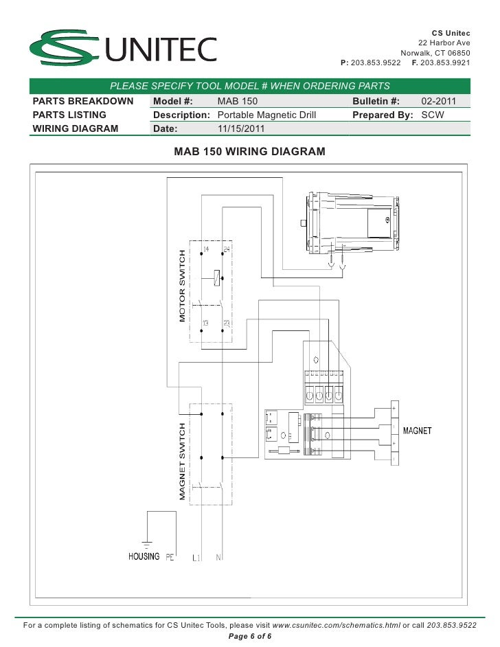 Cs Unitec Electric Magnetic Drills Schematic  Mab 150