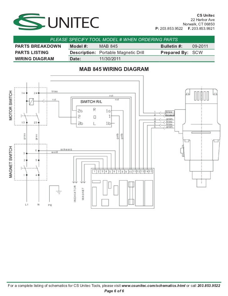 Cs Unitec Electric Magnetic Drills Schematic  Mab 845