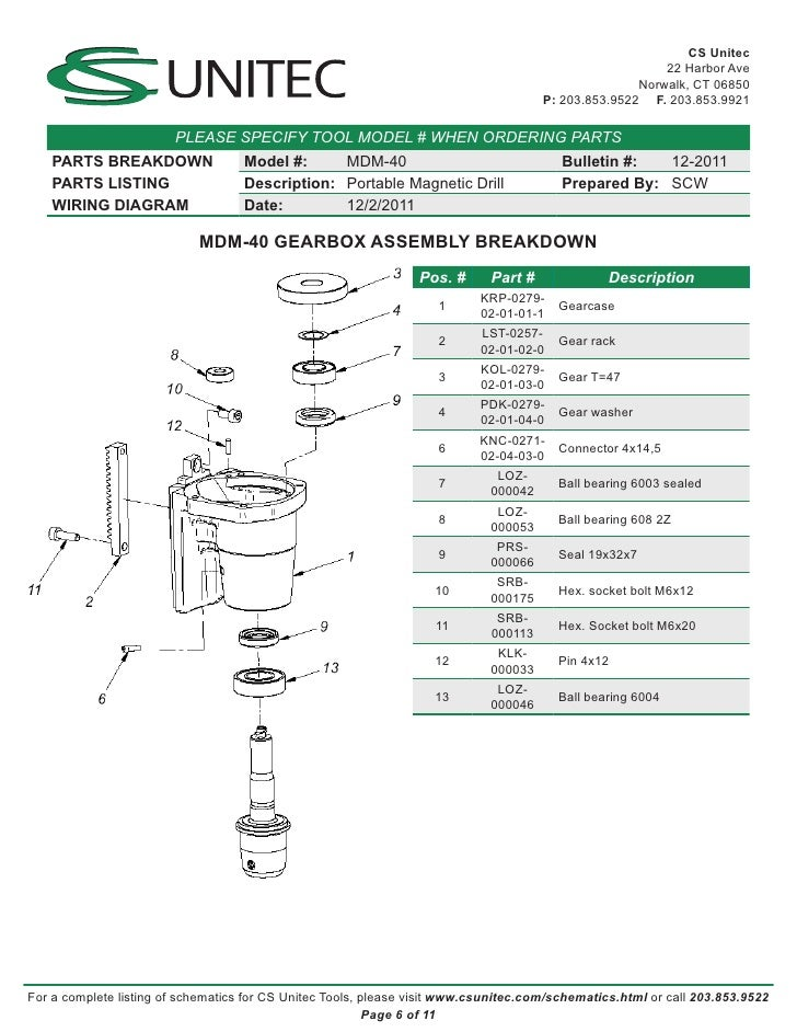 Cs Unitec Electric Magnetic Drills Schematic  Mdm