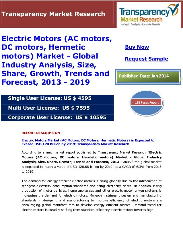 REPORT DESCRIPTION Electric Motors Market (AC Motors, DC Motors, Hermetic Motors) is Expected to Exceed USD 120 Billion by...