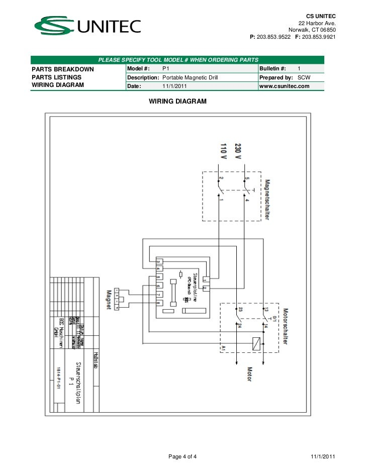 cs unitec electric magnetic drills schematic p1 240v wiring 203 853 9921 please specify tool model when ordering partsparts breakdown model p1 bulletin 1parts listings description portable magnetic drill