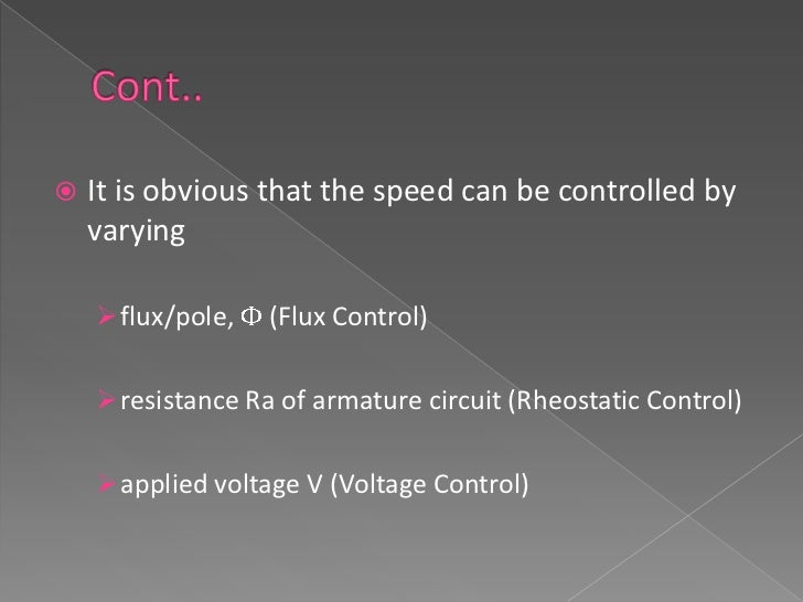    Compared to the electric and electromechanical    systems of speed control, the electronic methods    have        hig...