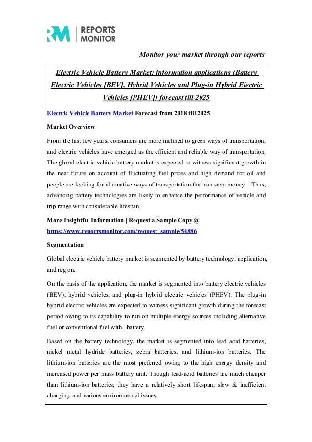 Electric Vehicle Battery Market: Overview, Segmentation, Regional Ana…