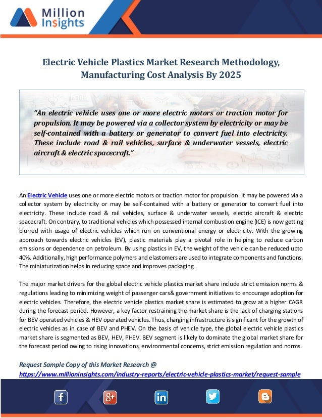 Electric vehicle plastics market research methodology, manufacturing …