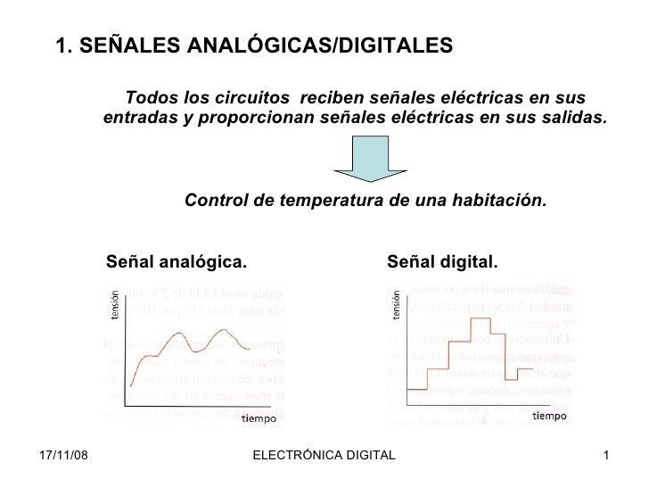 1. SEÑALES ANALÓGICAS/DIGITALES Señal digital. Todos los circuitos  reciben señales eléctricas en sus entradas y proporcio...