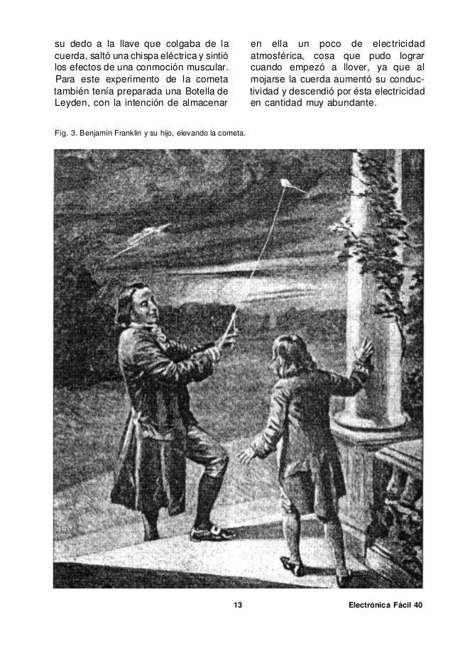 Benjamín Franklin tuvo también suerte en su ensayo, pues algunos otros científicos que posteriormente trataron de repetir ...