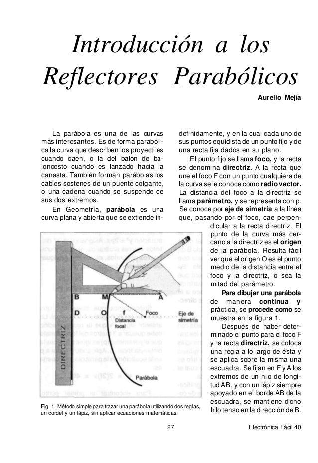 Fig. 2. Elementos de una parábola Observe que el tramo de hilo que va de la punta del lápiz al foco (F) es el mismo tramo ...