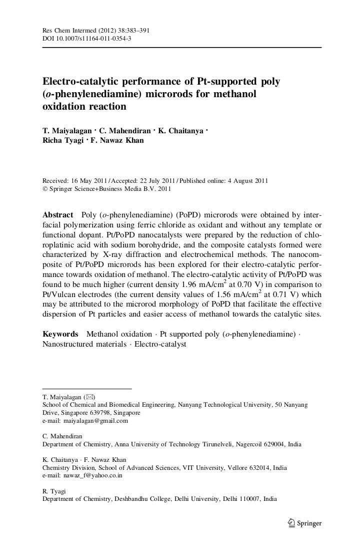Res Chem Intermed (2012) 38:383–391DOI 10.1007/s11164-011-0354-3Electro-catalytic performance of Pt-supported poly(o-pheny...