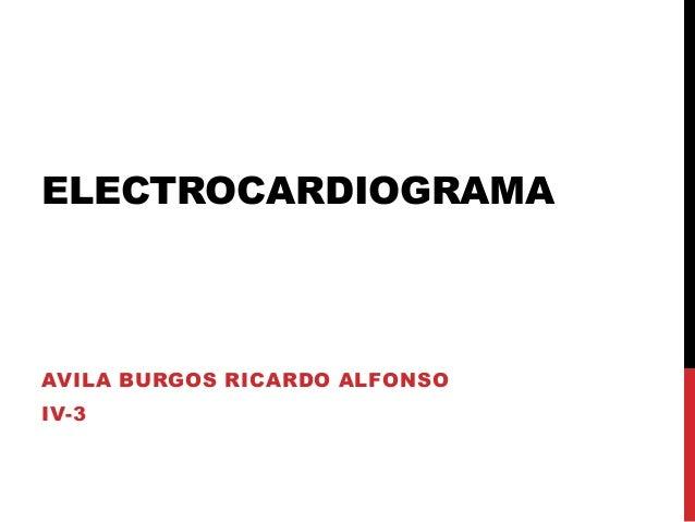 ELECTROCARDIOGRAMAAVILA BURGOS RICARDO ALFONSOIV-3