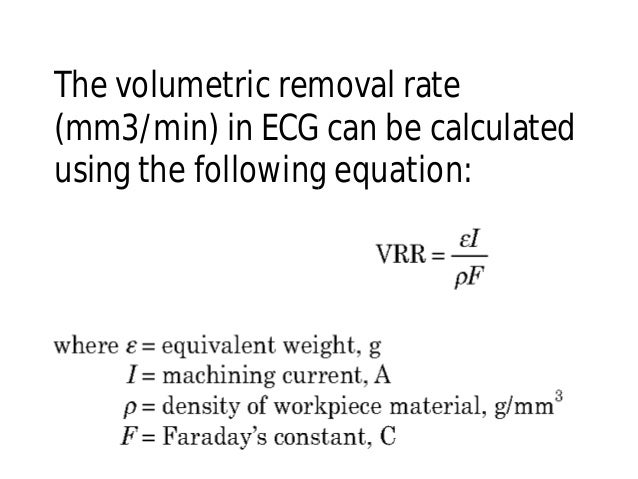 The volumetric removal rate (mm3/min) in ECG can be calculated using the following equation: The volumetric removal rate (...