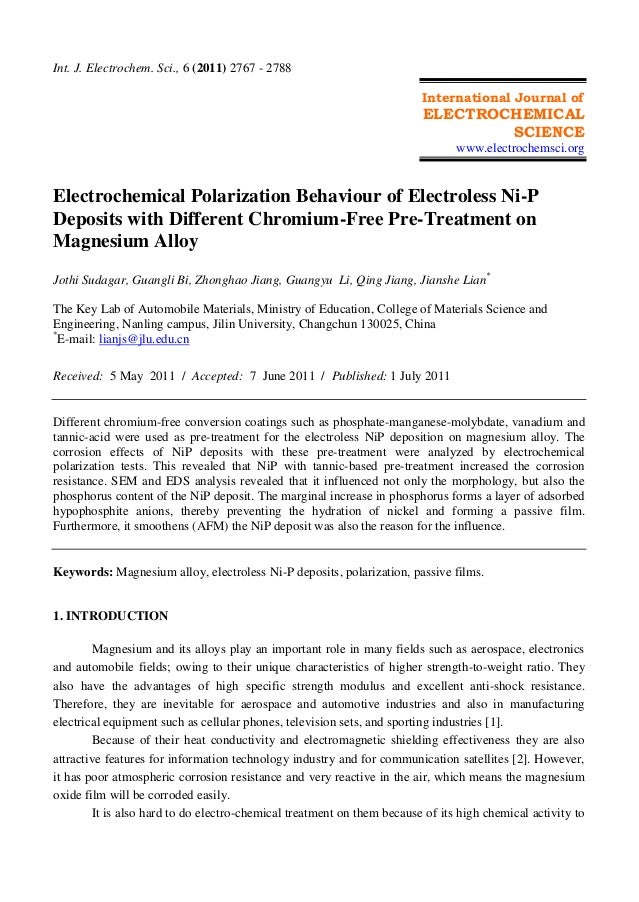 Int. J. Electrochem. Sci., 6 (2011) 2767 - 2788 International Journal of ELECTROCHEMICAL SCIENCE www.electrochemsci.org El...