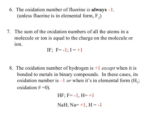 What is the oxidation number of fluorine?