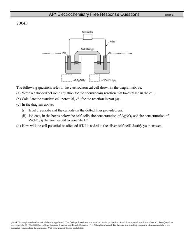 Worksheets Electrochemistry Worksheet electrochemistry fr worksheet 6 ap electrochemistry