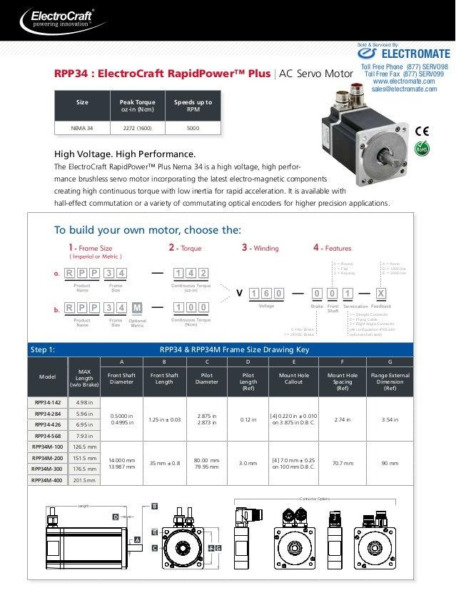 Metric servo motor frame size chart for Electro craft servo motor specifications