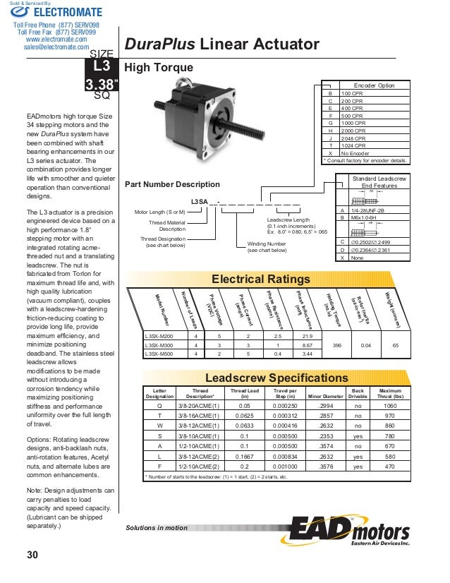 Electrocraft ead stepper catalog for Electro craft servo motor specifications