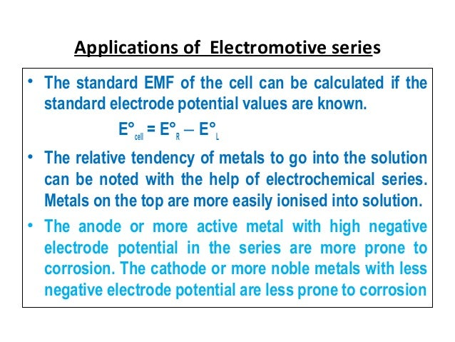 what is electrochemical series and its applications