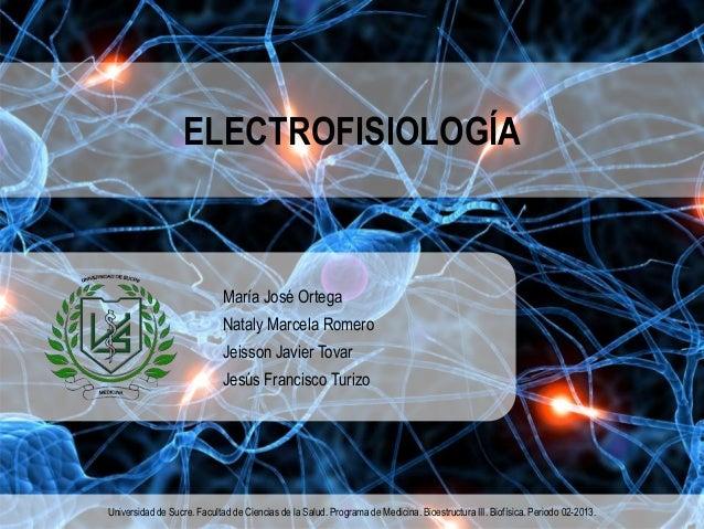 ELECTROFISIOLOGÍA María José Ortega Nataly Marcela Romero Jeisson Javier Tovar Jesús Francisco Turizo Universidad de Sucre...