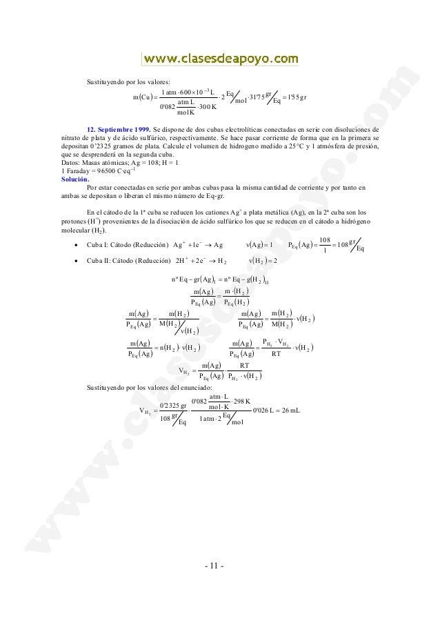 - 11 - Sustituyendo por los valores: ( ) gr55'1 Eq gr75'31 mol Eq2 K300 Kmol Latm 082'0 L10600atm1 Cum 3 =⋅⋅ ⋅ ×⋅ = − 12. ...