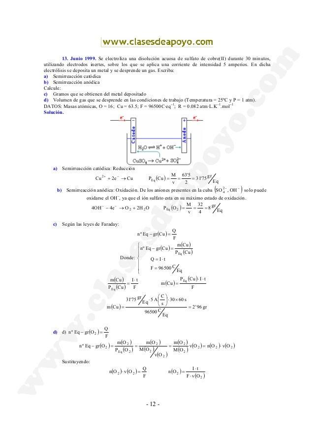 - 12 - 13. Junio 1999. Se electroliza una disolución acuosa de sulfato de cobre(II) durante 30 minutos, utilizando electro...