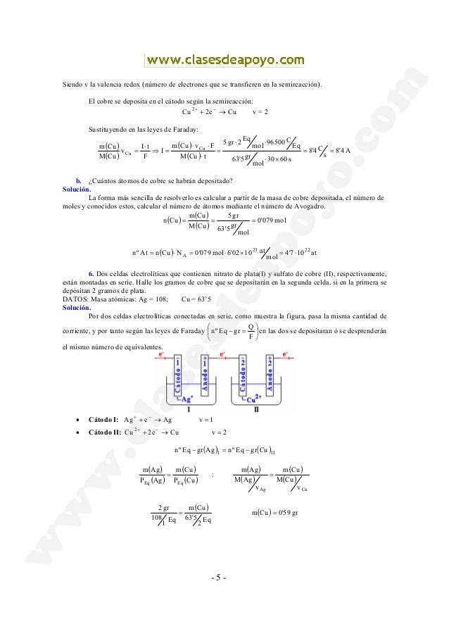 - 5 - Siendo v la valencia redox (número de electrones que se transfieren en la semireacción). El cobre se deposita en el ...