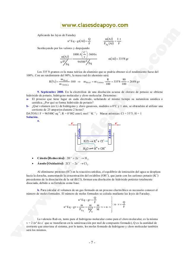 - 7 - Aplicando las leyes de Faraday ( ) ( ) ( ) F tI AlP Alm F Q AlgrEqºn Eq ⋅ ==− Sustituyendo por los valores y despeja...