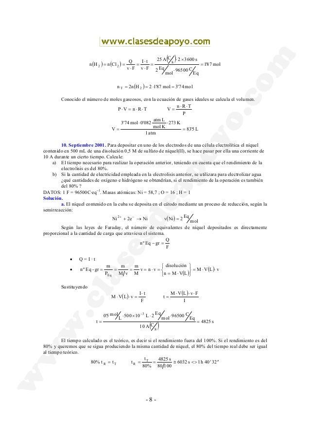 - 8 - ( ) ( ) ( ) mol87'1 Eq C96500 mol Eq2 s36002 s CA25 Fv tI Fv Q ClnHn 22 = ⋅ ×⋅ = ⋅ ⋅ = ⋅ == ( ) mol3'74mol87'12Hn2n ...