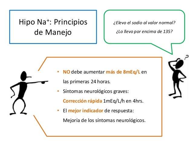 Hipo Na+: Principios de Manejo ¿Elevo el sodio al valor normal? ¿Lo llevo por encima de 135? • NO debe aumentar más de 8mE...