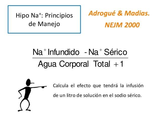 Adrogué & Madias. NEJM 2000 1TotalCorporalAgua SéricoNa-InfundidoNa   Calcula el efecto que tendrá la infusión de un li...