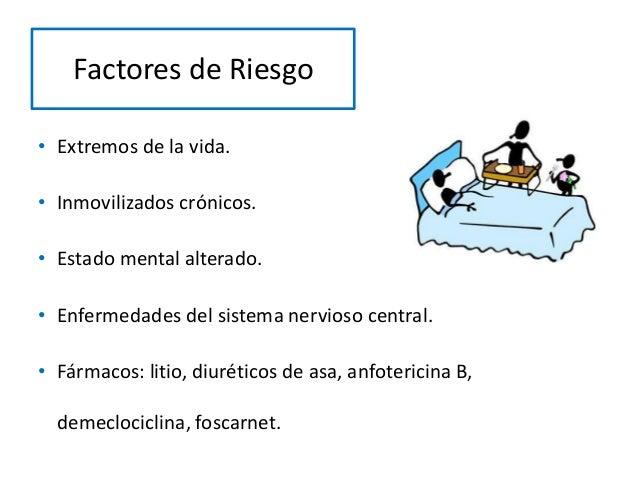 Factores de Riesgo • Extremos de la vida. • Inmovilizados crónicos. • Estado mental alterado. • Enfermedades del sistema n...
