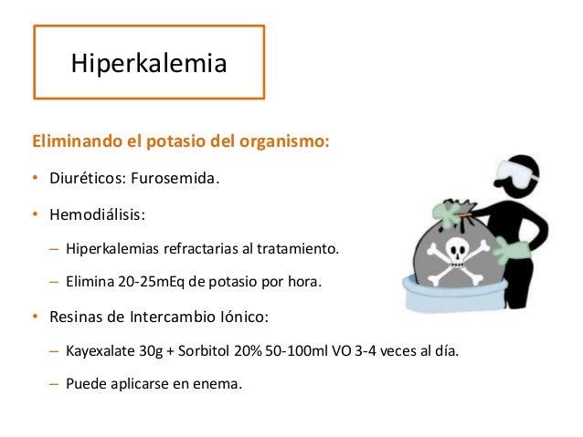 Eliminando el potasio del organismo: • Diuréticos: Furosemida. • Hemodiálisis: – Hiperkalemias refractarias al tratamiento...