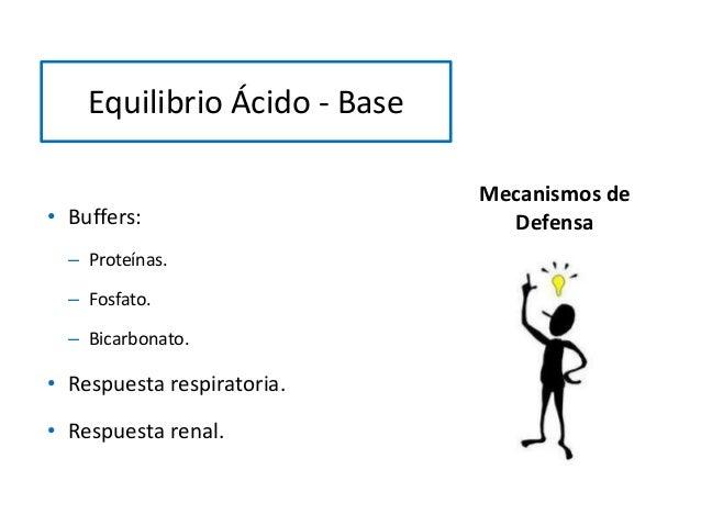 Mecanismos de Defensa• Buffers: – Proteínas. – Fosfato. – Bicarbonato. • Respuesta respiratoria. • Respuesta renal. Equili...