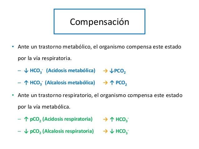 Compensación • Ante un trastorno metabólico, el organismo compensa este estado por la vía respiratoria. – ↓ HCO3 - (Acidos...