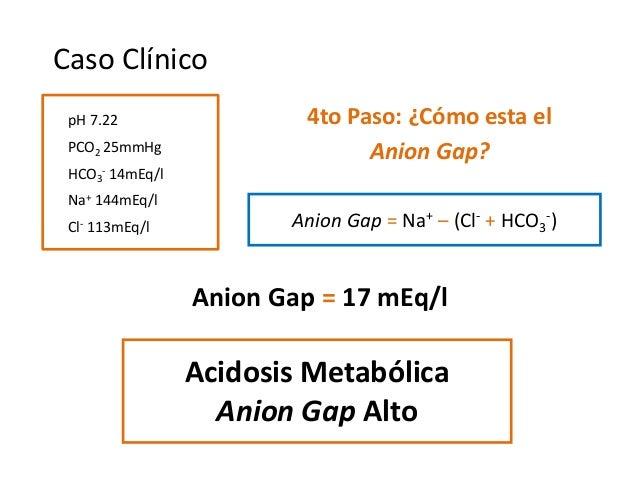 4to Paso: ¿Cómo esta el Anion Gap? Acidosis Metabólica Anion Gap Alto Anion Gap = Na+ – (Cl- + HCO3 -) Anion Gap = 17 mEq/...