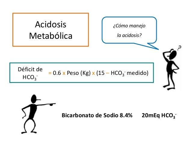 ¿Cómo manejo la acidosis? Acidosis Metabólica Déficit de HCO3 - = 0.6 x Peso (Kg) x (15 – HCO3 - medido) Bicarbonato de So...