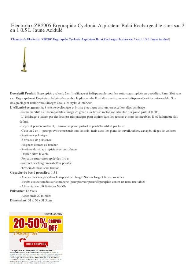 Electrolux ZB2905 Ergorapido Cyclonic Aspirateur Balai Rechargeable sans sac 2en 1 0.5 L Jaune AciduléClearance!- Electrol...