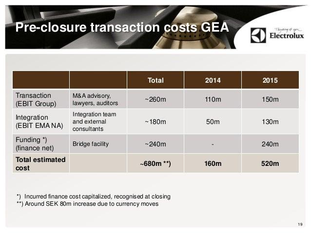 Pre-closure transaction costs GEA Total 2014 2015 Transaction (EBIT Group) M&A advisory, lawyers, auditors ~260m 110m 150m...