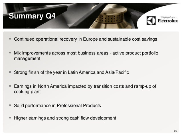 Summary Q4  Continued operational recovery in Europe and sustainable cost savings  Mix improvements across most business...