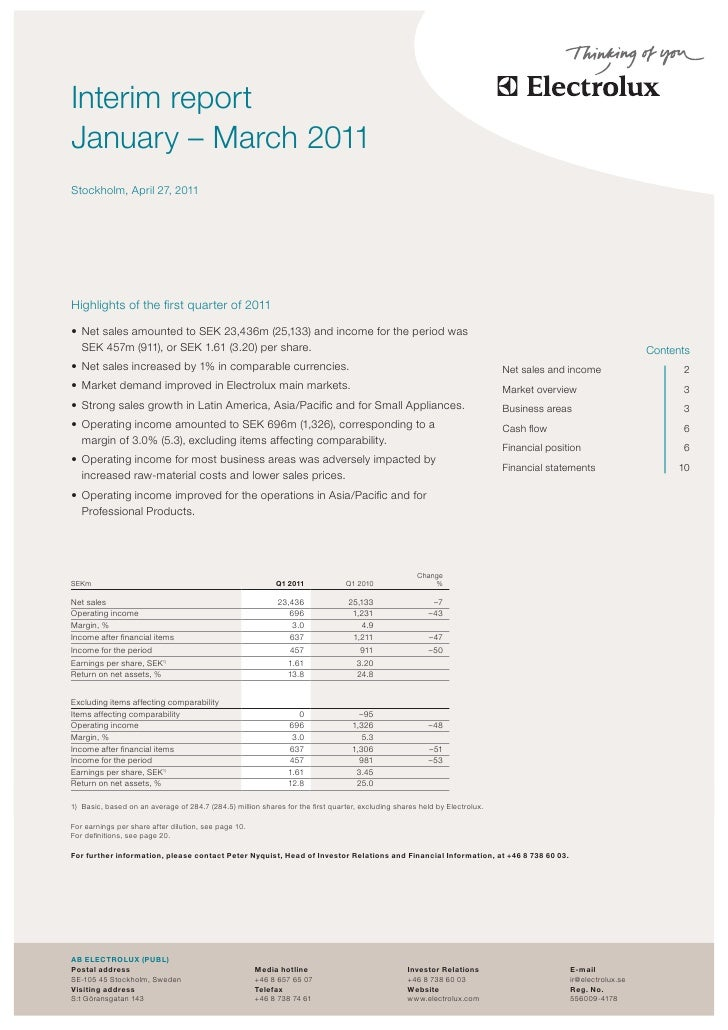 theasInterim reportJanuary – March 2011Stockholm, April 27, 2011Highlights of the first quarter of 2011•	 Net sales amount...