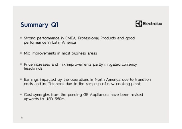 Summary Q1  Strong performance in EMEA, Professional Products and good performance in Latin America  Mix improvements in...