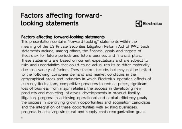 """24 Factors affecting forward- looking statements Factors affecting forward-looking statements This presentation contains """"..."""
